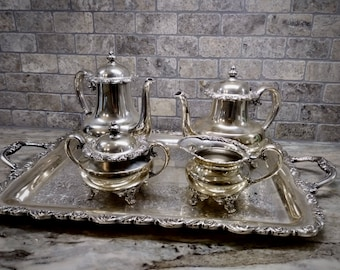 5 Piece Saybrook by Wilcox International Silver Co. Silverplated Tea Service, Tea and Coffee service, with butler tray