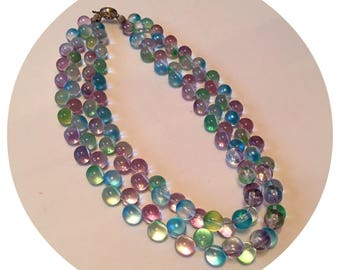 Vintage 60's double Strand Glass Beaded Necklace