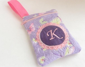 Girl's Small Clutch Bag Purse Quilted Monogrammed Custom Personalized Pink Purple