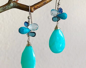 Oceanside Woven Earrings with Kyanite, Topaz, and Peruvian Opal