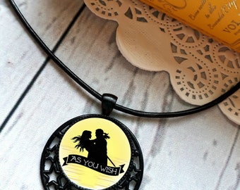 As you wish The Princess Bride quote pendant necklace, Westley Silhouette, Dread Pirate Roberts, Book lover gift, Princess Buttercup