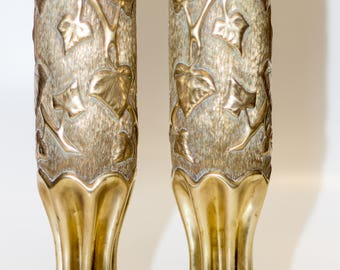 Authentic WWI Trench Art Brass Vases Shell Casing Ornate pair