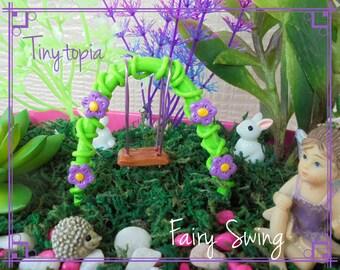 Miniature Fairy Garden Flower Swing