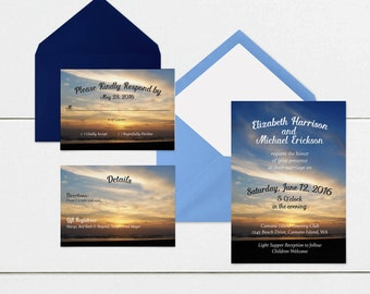 Beach Wedding Invitation TEMPLATE Suite / PSD Layered File / Invitation / RSVP / Details / Do It Yourself / diy