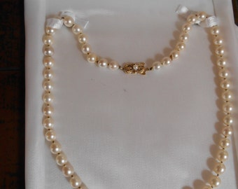 SALE Marked MIKIMOTO 20 inch Pearl Necklace with Professional Appraisal 50 percent Off 5000 Value