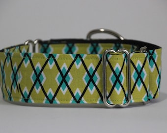 "Whippet - Lime Diamonds 1.5"" Martingale Collar"