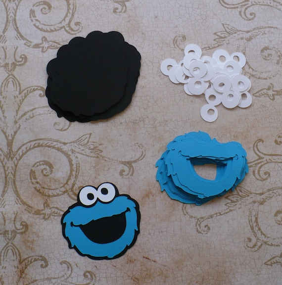 Cookie Monster Face Shapes Aqua Blue Black Die Cut pieces for DIY Tags crafts Cupcake Picks DIY Happy Birthday Decorations Party Bags etc. from ... & Cookie Monster Face Shapes Aqua Blue Black Die Cut pieces for DIY ...