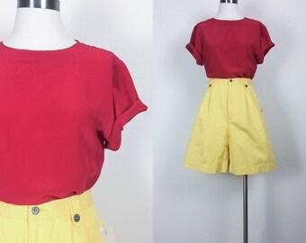 vintage silk shirt short sleeve shirt silk top silk blouse silk tunic size S/M