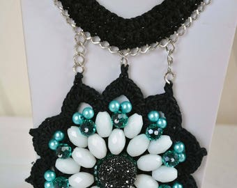Necklace Crochet Boho  with collar and pendant,Crochet boho style necklace with stone,Necklace black and white.