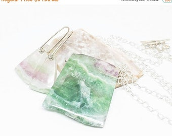 ON SALE Fluorite Gemstone . Sterling Silver Pendant Necklace and Dangle Earrings Set . Sea Green, Lilac Purple Jewelry Set . Free Shipping .