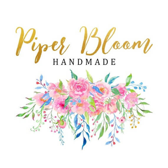 Premade Logo Peonies Rustic Floral Gold Watercolor Calligraphy