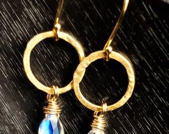 """Moonstone and gold loop """"dangle"""" earrings"""