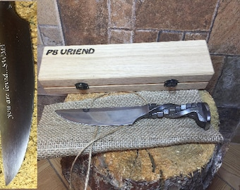 Railroad spike knife in engraved casket/wooden box, iron anniversary gift for him, 6 year anniversary gift for him, industrial art,iron gift