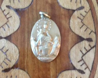 Vintage Silver Religious Holy Family Medal
