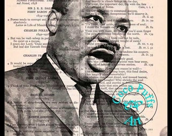 MLK, Jr Art Drawing - Beautifully Upcycled Vintage Dictionary Page Book Art Print, Famous Orator