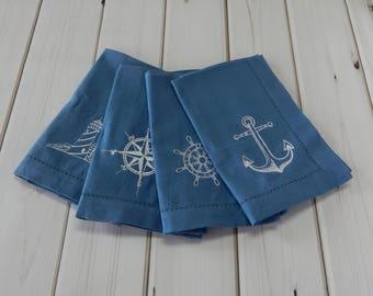 Nautical Cloth Napkins, nautical themed serviette, dinner napkin, lighthouse, compass, ships wheel, anchor