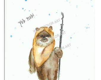 Star Wars Ewok Watercolor Print