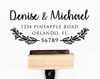 Custom Personalized Return Address Pre-Designed Rubber Stamp - Branding, Packaging, Invitations, Party, Wedding Favors - A033
