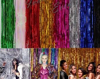 1m x 1m Metallic Foil Tinsel Curtain Party Backdrop Decor Event DecorationParty Fringe Backdrop