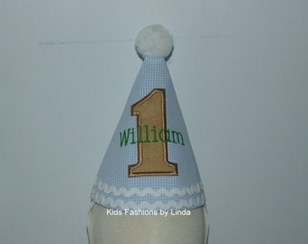 Personalized Birthday Tan Number Blue Gingham Hat
