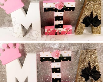 pink white and gold themed letters