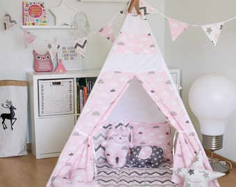 "FREE SHIPPING teepee ""Soft pink clouds"", kids teepee play tent wigwam, children's teepee, playtent, tipi, wigwam, kids teepee, play teepee"