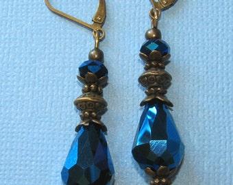 Metallic Midnight Blue Crystal Teardrop Bali Bronze Tone LeverBack Earrings