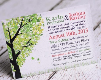 woodsy heart oak tree wedding invitations |  invites handmade in Canada by empireinvites.ca