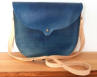 Hand Stitched Large Persephone Leather Bag in Indigo
