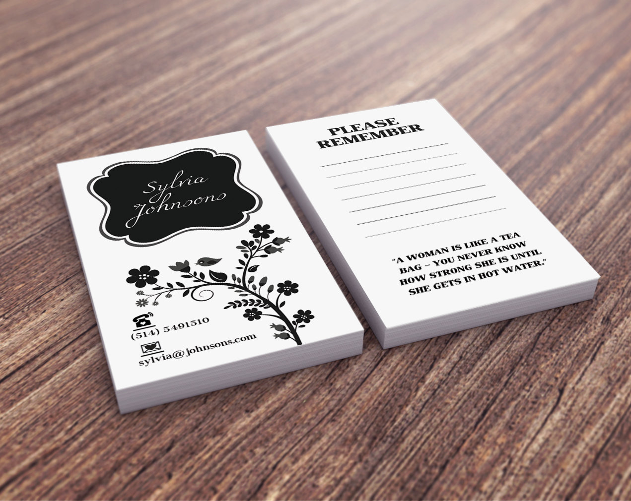 Business Card Design Personal Business Card Vertical Black