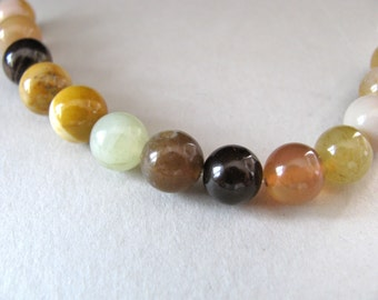 Mookaite beads, 13 beads, burgundy, mustard,beige, 8mm - # 113