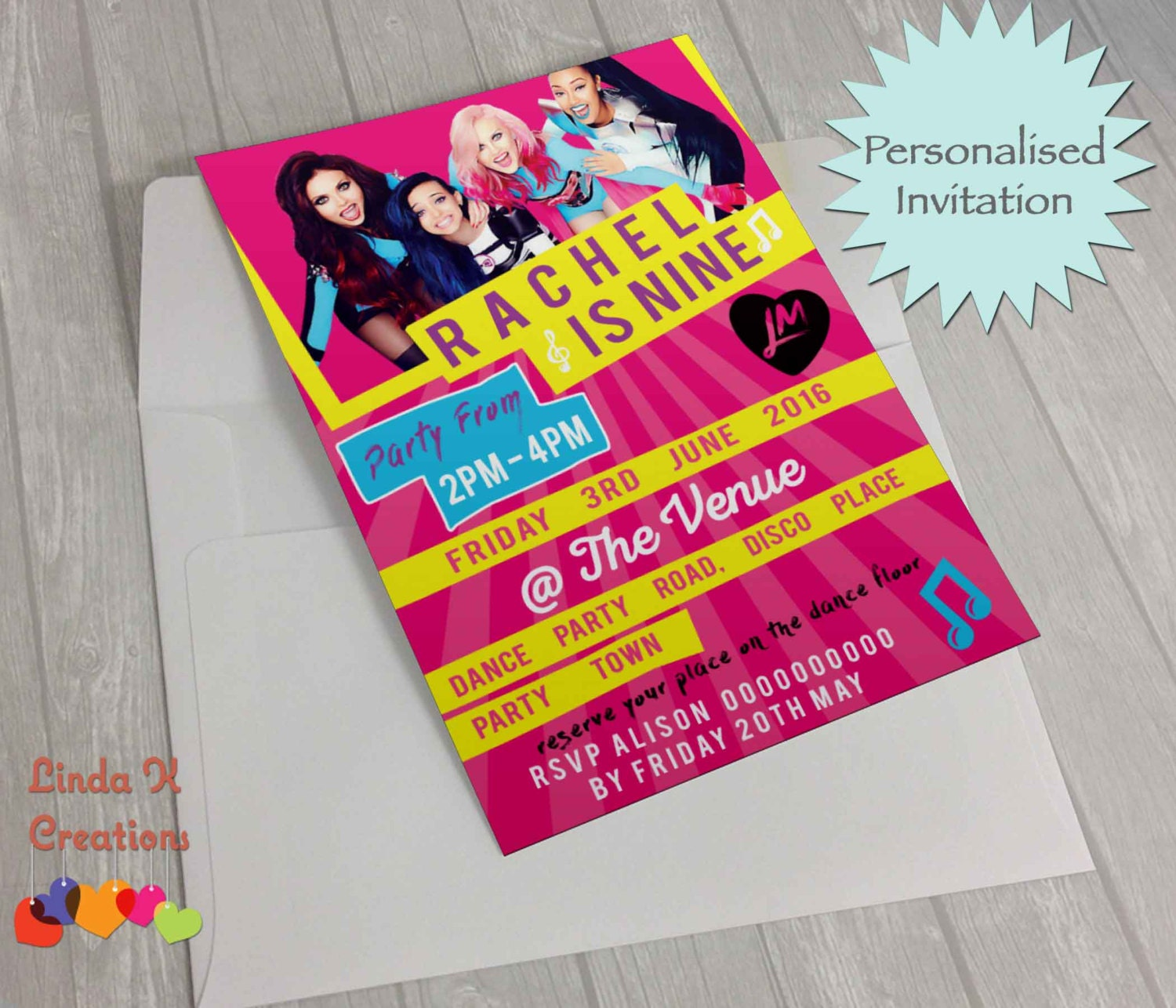 Personalised Little Mix Birthday party invitations kids /