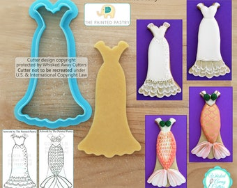 Wedding Dress and Mermaid Cutter Designed by The Painted Pastry - **Guideline Sketch to Print Below**