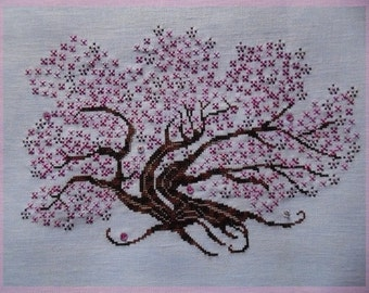 Sakura French counted cross stitch chart design uses Fils a Soso hand dyed threads, Mill Hill beads, Swarovski flowers and Kreinik thread.