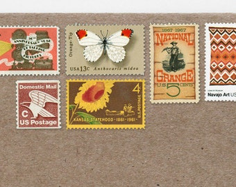 Posts (5) 2 oz wedding invitations - Warm-colored unused vintage postage stamp sets (2 ounce 70 cent rate)