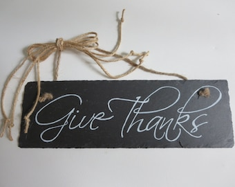 Christian Home Decor Chalkboard Slate Sign Wall Art - Give Thanks Grateful Thankful Blessed