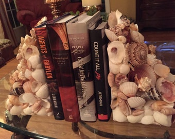 Seashell Home Decor Coastal and Beach Bookends (Pair)