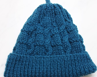 Snuggly Cute Cable Baby Hat in Teal - 0-3 months