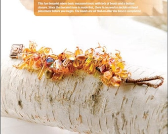 Knot Right Now Bracelet Tutorial, Amber Mixed Beads, Button Closure, Waxed Linen Cord