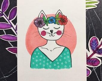 kitty with head wreath illustration