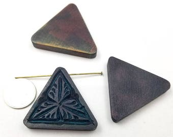 Set of 4 Triangle Carved Wood Pendants (H2647)
