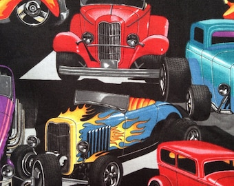 One  44 x 42 Piece of Fabric Material - Hot Rod Cars