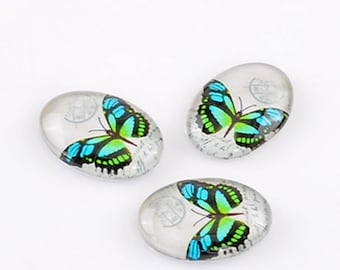 Set of 2 small glass BUTTERFLIES pattern 18x13mm oval CABOCHONS