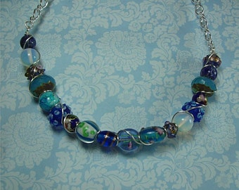 Wire Wrapped Blue Bead And Chain Necklace