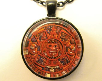 AZTEC CALENDAR Necklace -- Traditional Aztec Calendar in red, Tribal art, Mexican art