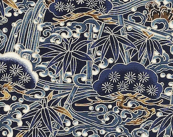 Pine and Bamboo: Navy Blue Asian Japanese Fabric -  (By The Half Yard)