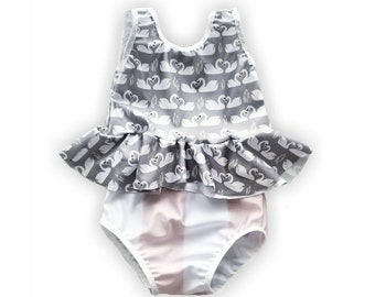 Swan peplum bikini / swimwear /bathing suit/ baby swim suit/ beach glam/infant swimsuit/ beach wear/ fancy swim suit/ baby bikini/ baby suit