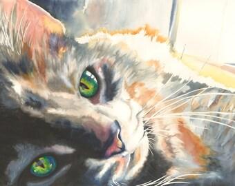 "8x10"" Cat Watercolor Giclee Fine Art Print [Watercolor Cat Portrait, Watercolor Print, Cat Gift Idea, Gift For Cat Lover, Cat Decor]"