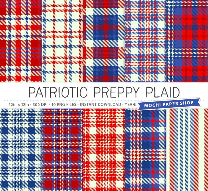 Patriotic Plaid Digital Paper Preppy Plaid Background Red