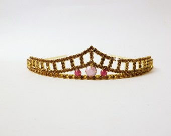 Gold And Pink Rhinestone Tiara
